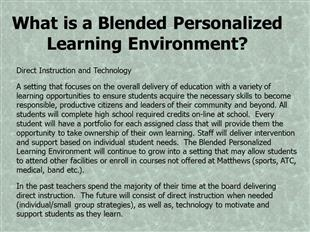 What is a Blended Personalized Learning Environment